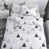 KFZ Duvet Cover Queen Set, 3Piece Geometric Bedding with 1 Comforter Case (Without Duvet Insert),2 Pillowcases, Breathable Triangle Bed Set for Kids Teens