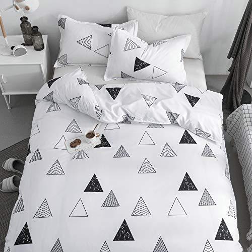 KFZ Driehoek Geometrisch Zwart Wit Dekbedovertrek Set, 3 Stuk Twin Dekbedovertrek Set Beddengoed Set met 1 Trooster Case (zonder Dekbed), 2 kussenslopen, Ademend Bed Set voor Kids Tieners