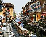 Xofjje Pintar por Numeros_Paisaje de la Ciudad de Agua_Adultos Niños DIY Pintura por Números_con Pinceles y Pinturas_30x40cm_Sin Marco