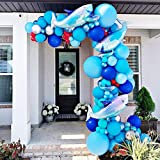 Shark Party Decorations Supplies Caribbean Blue Sliver Red Balloon Arch Kit & Garland with Shark Balloons, 115pcs for Baby Shower, Kid's Birthday Party, Shark Party, Under The Sea Party, Boys Party