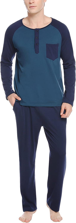 Sykooria Men's Pajamas Set Long Sleeve Plaid Loungewear Cotton Striped Sleepwear with Pockets 2 Piece Comfy Pjs Set