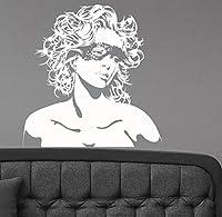 Cwinan 美しい女性の顔の壁のステッカーセクシーなかわいい女の子デカールグラマーファッションアートデコレーションヘアビューティーサロン部屋の装飾57X58Cm