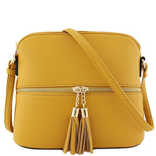 Tassel Zipper Pocket Dome Crossbody Bag (Mustard)