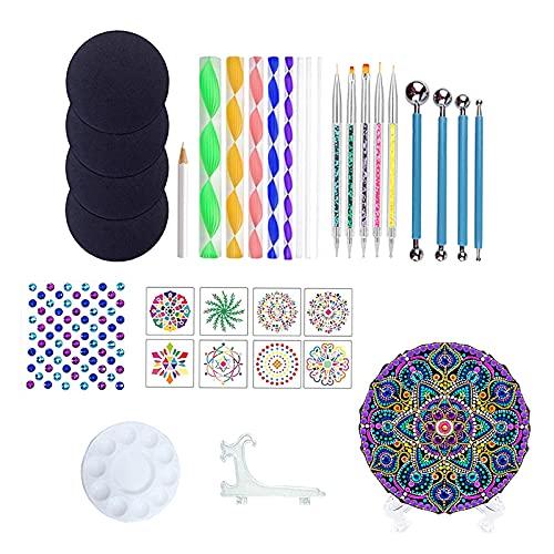 sharprepublic 34pcs / Set Mandala Doting Herramientas Set Dibujo Dibujo Dibujo Bandeja Arte