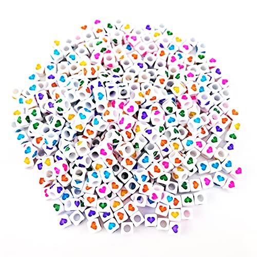 MINGHOO 800 Piezas Abalorios para Pulseras, Mini Cuentas Cúbicas con Patrón de Amor Colorido, Cuentas de Colores, con Cuerda de Cristal para Hacer Collares y Pulseras