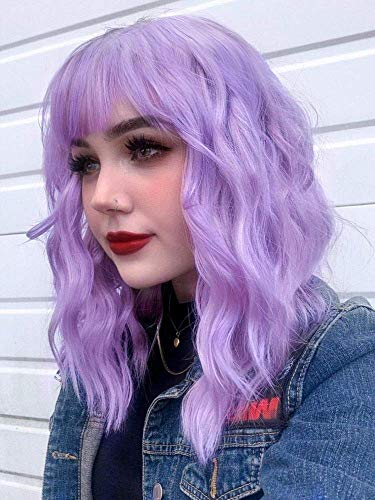 Goodly Short Lavender Purple Wavy Curly Wigs for Women Shoulder Length Women's Pastel Purple Wavy Bob Wig with Bangs Synthetic Lilac Wigs 14 Inch (Lavender Purple)