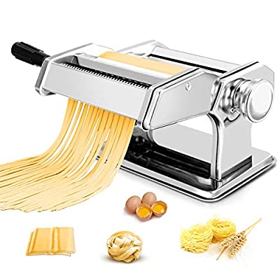 Pasta Maker Machine, 150 Roller Pasta Maker All in one Stainless Steel Manual Pasta Roller for Homemade Spaghetti Noodle Linguine Fettuccine Lasagna, Including Dough Press &Sheet Cutter & Hand Crank