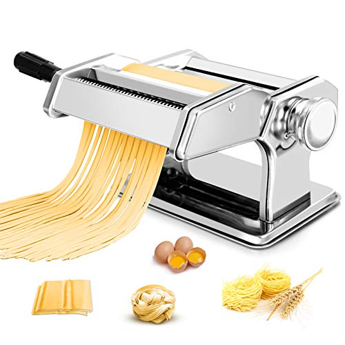 Pasta Maker Machine 150 Roller Pasta Maker All in one Stainless Steel Manual Pasta Roller for Homemade Spaghetti Noodle Linguine Fettuccine Lasagna Including Dough Press ampSheet Cutter amp Hand Crank