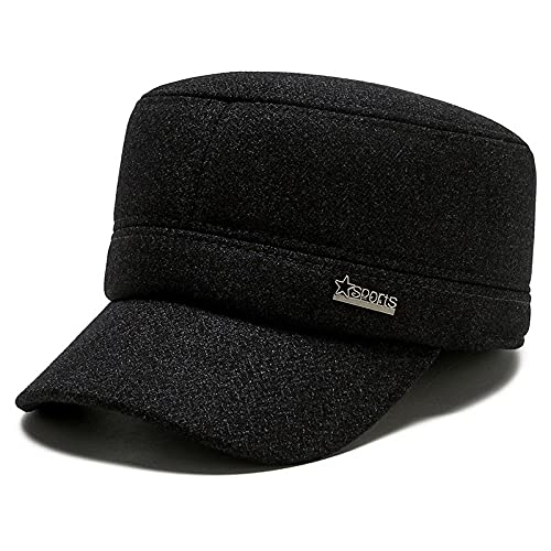 VSDFS Sombreros De Invierno Orejeras Cálidas Y Frías para Hombres Gorras Planas para Hombres De Mediana Edad Gorras Casuales De Moda para Todo Fósforo Gris Ajustable