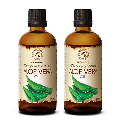 Aloe Vera Öl 2x100ml - Aloe Barbadensis - Brasilien - Aloe Vera-Öl Basisöl 200ml - Raffiniert - Intensive Pflege für Gesicht - Körper - Haare - Nägel - Hände - Massage