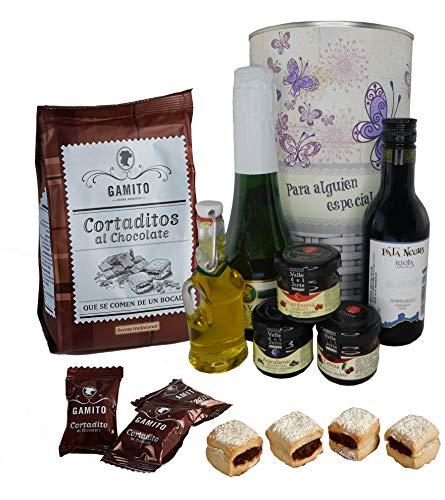 Lata con opción de PERSONALIZACIÓN mujer mariposas con Vino tinto Crianza, Cava, Mermeladas, Aceite Virgen Extra y bolsa cortaditos