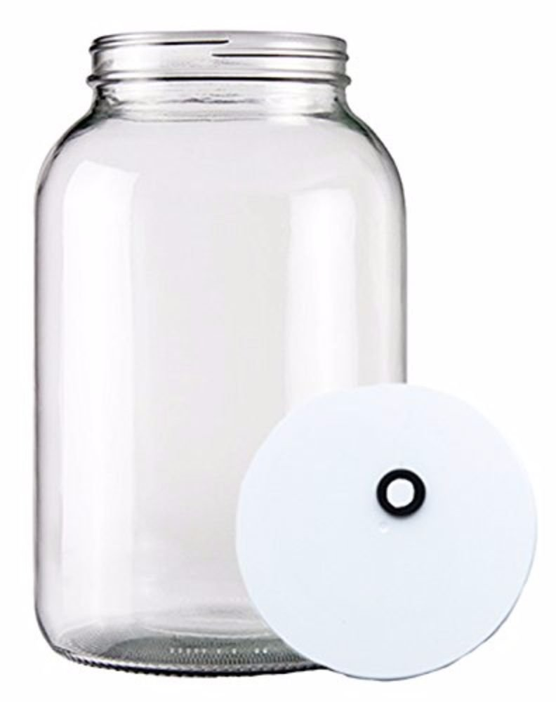 Home Brew Ohio - HOZQ8-415 One gal Wide Mouth Glass Jar with Grommeted Lid