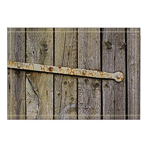 ottbrn rustieke decoratie, boomplanken van oud hout, badmat metaal, roest, ingangmat, deurmat, toegangsdeur, buiten, badmat voor kinderen, 15,7 x 23,6 inch