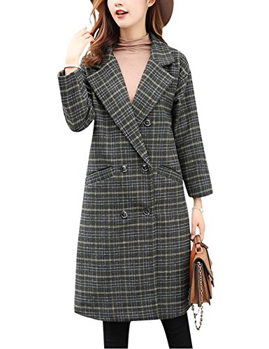Tanming Women's Double Breasted Long Plaid Wool Blend Pea Coat Outerwear (Small, Green)