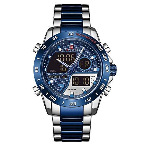 Relógio de pulso masculino Naviforce multifunções com luz de fundo de LED, relógio analógico de quartzo de aço inoxidável, relógios esportivos masculinos, S/BE/BE, M