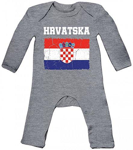 ShirtStreet Croatia Kroatien Fußball WM Fanfest Gruppen Baby Strampler Langarm Schlafanzug Jungen Mädchen Wappen Hrvatska, Größe: 3-6 Monate,Heather Grey Melange