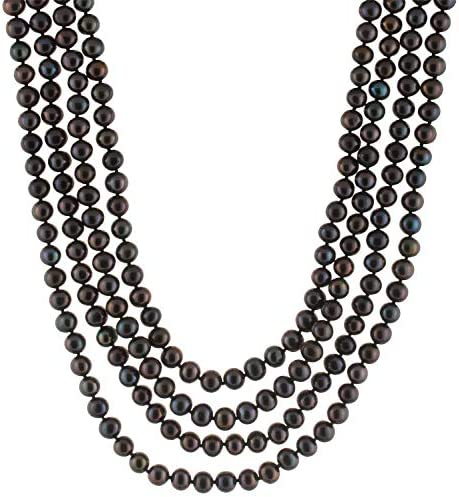 Handpicked A Quality 7 8mm Black Freshwater Cultured Pearl Strand Endless 100 Necklace product image