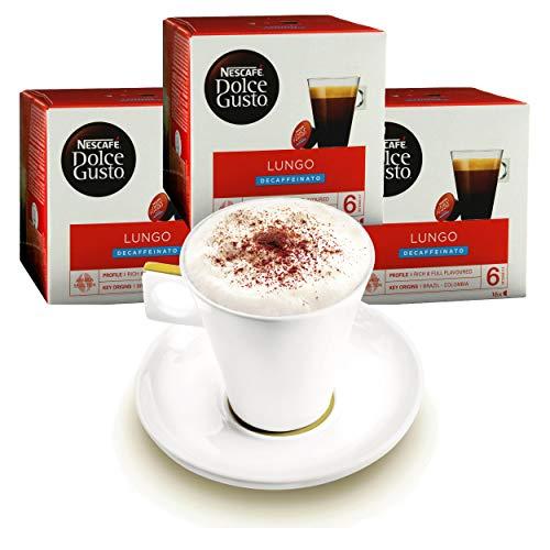 Nescafé DOLCE GUSTO Tassen Geschenkset, 3 Packungen mit Becher Caffè Lungo Decaffeinato, Entkoffeiniert, Kaffee, Kaffeekapsel, Kapseln