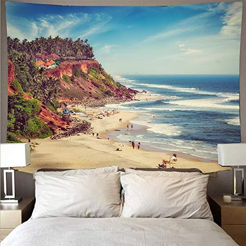 Hermoso atardecer playa ola gigante paisaje tapiz de tela de pared arte tapiz hippie colgante de pared tela de fondo A5 180x230cm