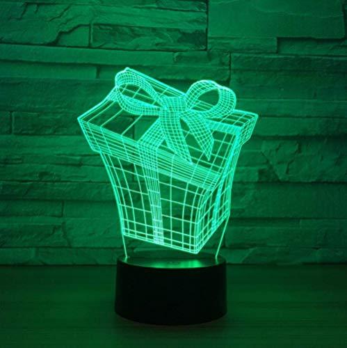 Lámpara de ilusión de luz nocturna 3D lámpara de cabecera forma de caja de regalo 7 colores cambiar interruptor táctil decoración de escritorio luz cumpleaños regalo de navidad cable USB