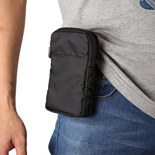 Sacchetto Clip da Cintura, Borsa a Tracolla Uomo per Cellulare, Moon mood® 6.0' Borsello in nylon Uomo Borsetta Borsa a Spalla Clip Cintura Shoulder Waist Belt Bag Pouch Custodia per iPhone X 8 7 6