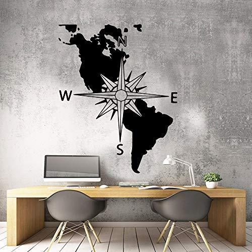 Brújula de estilo americano Decoración para el hogar Vinilo Pegatinas de pared Habitación para niños Sala de estar Decoración de la naturaleza Decoración extraíble Tatuajes de pared M 28cm X 35cm