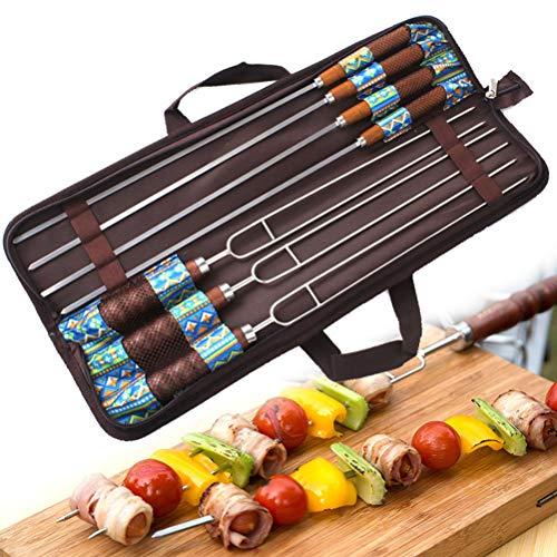 Bestice Roasting Sticks, Marshmallow Roasting 32 Zoll Teleskop BBQ Bratgabeln, Edelstahl mit farbigem Holzgriff, Hot Dog Gabeln Grillzubehör mit Tragetasche für Camping