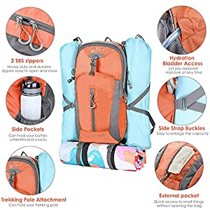 SAMIT Hiking Backpack 40L Camping Backpack with Waterproof Rain Cover Hiking Daypack Lightweight Travel Backpack Outdoor Backpack for Men Women(Orange)