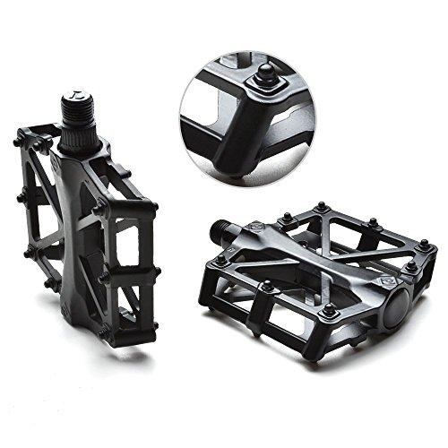 AGPTEK Odoland Mountain Bike Pedals Bicycle Pedals 9/16' MTB BMX Bearing Alloy Platform Pedals for Mountain Cycling Road Bicycles (Black)