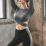 XIAMIMI Yoga Wear Sport Fitness Bekleidung Zweiteiler BH Mantel Hosen Langarm-Berufssport-Anzug,C,L