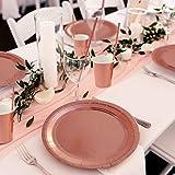 iZoeL Partygeschirr Rosegold Tischdecke Teller Becher Servietten Strohhalme Popcorn Tüten für Mädchen Party Hochzeit Kinder Geburtstag (60pcs Partyteller) - 7