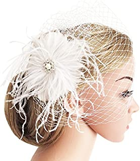 Bridal Wedding Fascinator Mesh Feather Fascinator Hair Clip Tea Party Fascinator Veil Crystal Wedding Veil