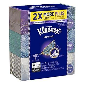 Kleenex Ultra Soft & Strong Facial Tissues 120 Tissues per Flat Box 3 Pack