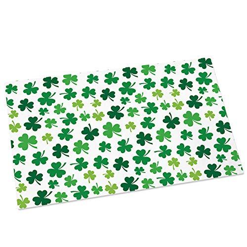 St. Patrick's Day Leaf Doormats Entrance Front Door Rugs Lucky Shamrocks Leaves Floor Mat for Indoor/Bathroom/Kitchen/Bedroom/Entryway Non-Slip Bath Mats 18x30Inch