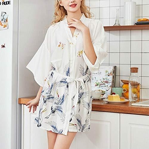 T Ll Frauen Sommer Print Kimono Robe Satin-Spitze-Kleid Fashion Nachtwäsche, Größe: L (weiß) (Farbe : Light Purple)