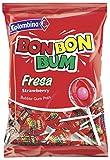Sucettes Bon Bon Bum rondes au coeur de chewing gum (Fraise) Colombina / Colombie 24 sucettes