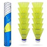 Volantes de Bádminton,Baozun 12Pcs Nylon Badminton Volantes de Plástico Deportivo Volantes Durables- Ejercicio de Entrenamiento Gimnasio Juego de Ejercicios Bola de Bádminton de al Aire Libre