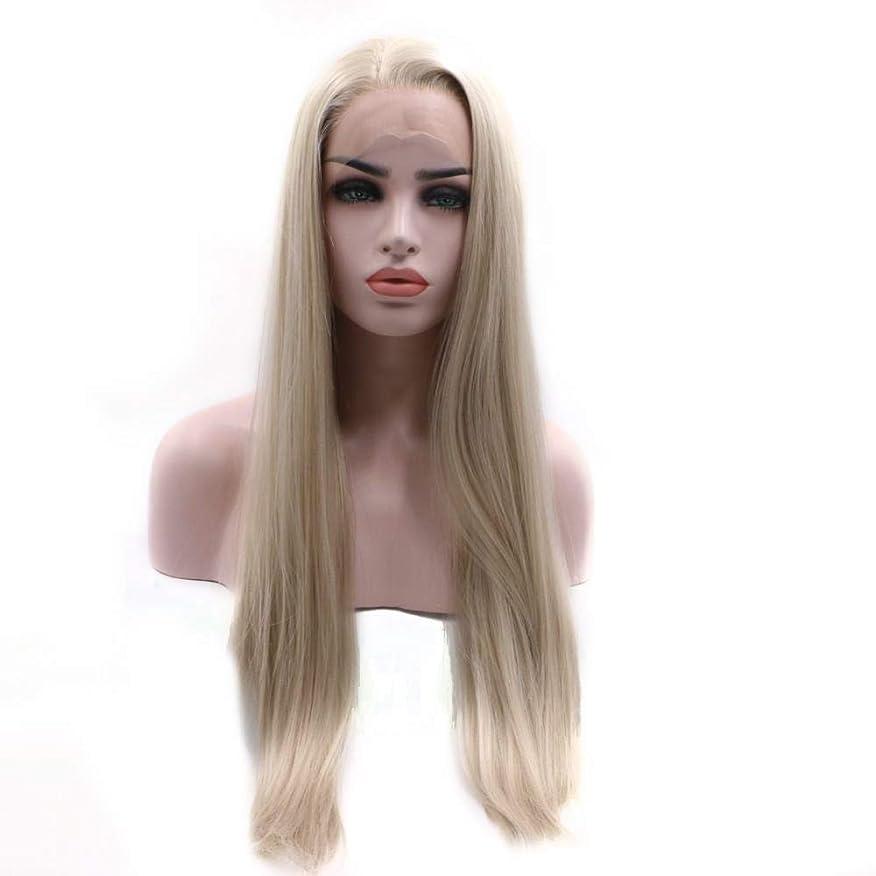 るオセアニアコンパイルYrattary ゴールドパーシャルハイストレートヘアウィッグ高温シルクウィッグヘッドギア複合ヘアレースウィッグロールプレイングウィッグ (色 : Blonde)