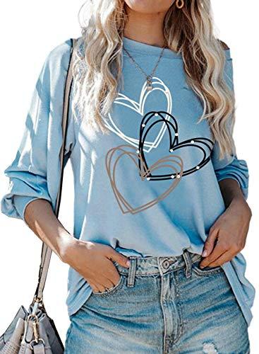 Camiseta de San Valentín para mujer, diseño de corazón, manga larga, estilo casual, color azul cielo