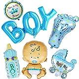 SiMin 6 Stück Heliumballon Baby Folienballon Baby Dusche Dekoration,Babyshower Babyparty Party und Dekoration (Junge)