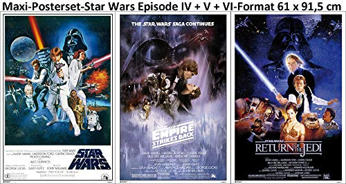 3er-Set Star Wars Set Classic Episode IV + V + VI Poster Grösse je 61x91,5