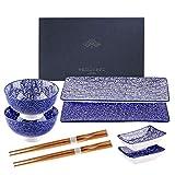 Sushi Set, vancasso TAKAKI 8-teilig Sushi Teller Porzellan japanische ESS Service Geschirrset für 2 Personen, mit je 2 Sushi Teller, runden Schalen, rechteckigen Soßenschälchen und Essstäbchen
