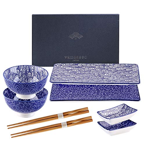 vancasso Takaki Sushi Set Porcelain Patterned 2 Designs Japanese Style Nippon Blue, Set of 2 Sushi Plates, 2 Ceramic Bowls, 2 Dip Bowls,2 Pairs of Bamboo Chopsticks,Gift Box