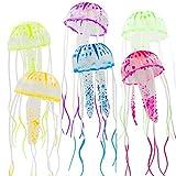 Balacoo 6 Pcs Glowing Artificial Jellyfish Decor for Fish Tank Realistic Fake Jellyfish Aquarium Ornament