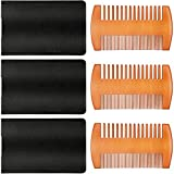 3 Pieces Beard Comb Natural Sandalwood Wooden Mustaches Combs Dual Action Teeth Beard Comb with 3 Pieces Pocket Faux Leather Case for Beards Mustaches (Yellow)