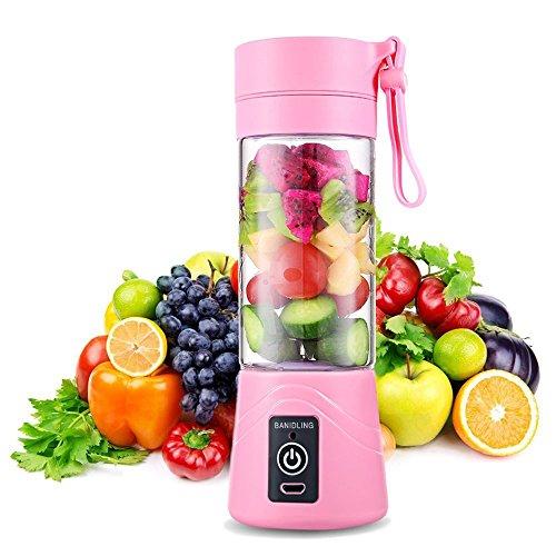 Mini licuadora Smoothie, exprimidor eléctrico de cítricos, licuadora portátil Mini Fruit Blender, 380 ml para deporte y viajes para batidos de leche DIY, jugo de frutas y batidora (rosa)