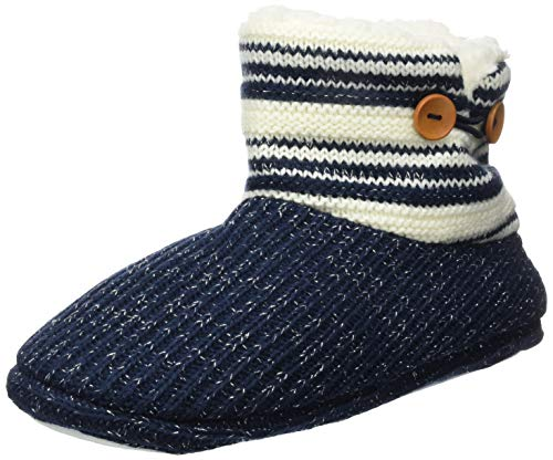 KuaiLu Damen Slipper-Stiefel Gestrickte pelzige Drinnen/Draußen Hausschuhe gemütliche Slouch Pantoffeln,Blau,40/41 EU (XL)