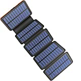 AddAcc Cargador solar de 25000 mAh, portátil, resistente al agua y a los golpes, con luz LED y 2 puertos USB 1 tipo C para teléfonos inteligentes iPad y más