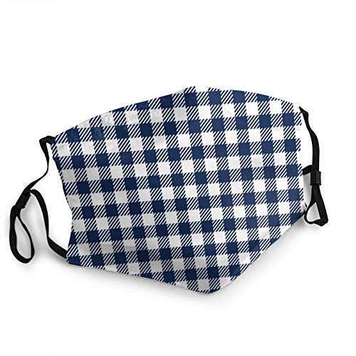ZVEZVI Face Mask,Blue And White Checkered Tablecloth Breathable Reusable Washable Mouth Protection with Adjustable Ear Loops