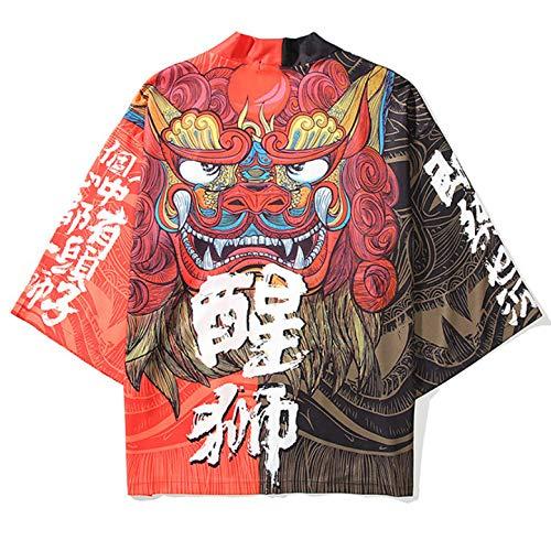 curtain Cárdigan Kimono japonés para Mujer/Cárdigan de Albornoz Holgado Oversized Verano Ropa de protección Solar Pijama Chaqueta Abrigo haori,Black-Large